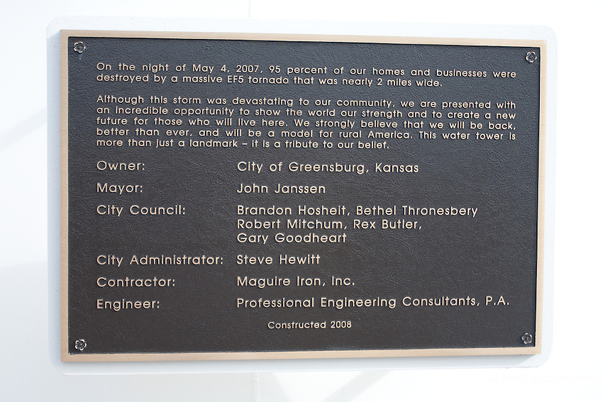 Memorial plaque in Greensburg, KS