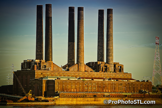 Abandoned power plant on the Mississippi river bank