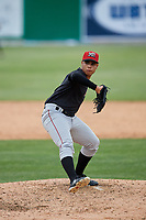 Batavia Muckdogs pitcher Jonaiker Villalobos delivers a pitch during a three inning intrasquad game on June 12, 2019 at Dwyer Stadium in Batavia, New York.  (Mike Janes/Four Seam Images)