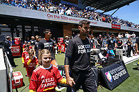 SAN JOSE, CA - JUNE 8: Chris Wondolowski #8 enters the field for pre-match ceremonies during a game between FC Dallas and San Jose Earthquakes at Avaya Stadium on June 8, 2019 in San Jose, California.