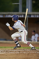 Michael Turconi (4) (Wake Forest) of the High Point-Thomasville HiToms follows through on his swing against the Wilson Tobs at Finch Field on July 17, 2020 in Thomasville, NC. The Tobs defeated the HiToms 2-1. (Brian Westerholt/Four Seam Images)