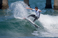 Huntington Beach, CA - Tuesday July 31, 2018: Gony Zubizarreta in action during a World Surf League (WSL) Qualifying Series (QS) Men's round of 96 heat at the 2018 Vans U.S. Open of Surfing on South side of the Huntington Beach pier.