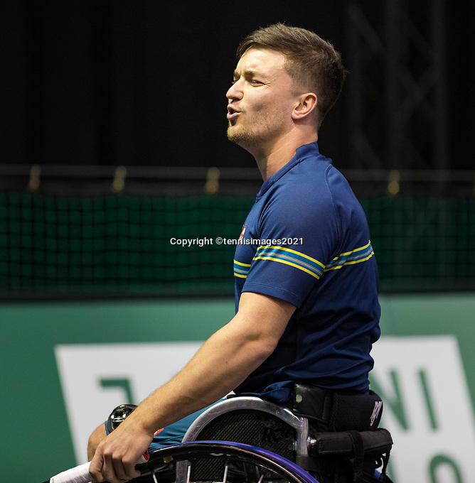 Rotterdam, The Netherlands,7 march  2021, ABNAMRO World Tennis Tournament, Ahoy,  <br /> Wheelchair final: Gordon Reid (GBR).<br /> Photo: www.tennisimages.com/