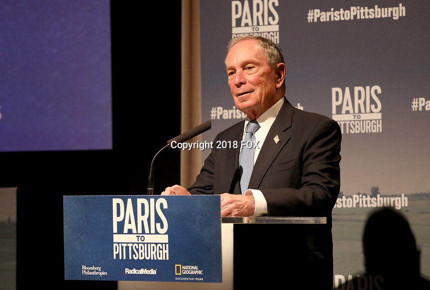 """LONDON, UK - DECEMBER 11:  Michael Bloomberg attends the London Premiere of Bloomberg and National Geographic's """"Paris to Pittsburgh"""" at the BAFTA Theatre on December 11, 2018 in London, UK. (Photo by Vianney Le Caer/National Geographic/PictureGroup)"""