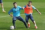 Getafe CF's Nemanja Maksimovic (l) and Cucho Hernandez during training session. February 17, 2021.(ALTERPHOTOS/Acero)
