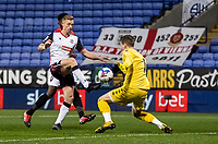 Bolton Wanderers' Eoin Doyle (left) cannot beat Salford City's goalkeeper Vaclav Hladky<br /> <br /> Photographer Andrew Kearns/CameraSport<br /> <br /> The EFL Sky Bet League Two - Bolton Wanderers v Salford City - Friday 13th November 2020 - University of Bolton Stadium - Bolton<br /> <br /> World Copyright © 2020 CameraSport. All rights reserved. 43 Linden Ave. Countesthorpe. Leicester. England. LE8 5PG - Tel: +44 (0) 116 277 4147 - admin@camerasport.com - www.camerasport.com