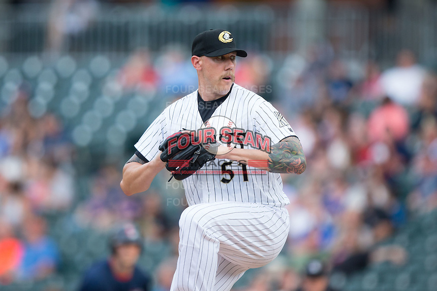 Charlotte Knights starting pitcher Kameron Loe (51) in action against the Pawtucket Red Sox at BB&T BallPark on July 6, 2016 in Charlotte, North Carolina.  The Knights defeated the Red Sox 8-6.  (Brian Westerholt/Four Seam Images)