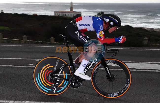 French Champion Remi Cavagna (FRA) Deceuninck-Quick Step speeds by during Stage 13 of the Vuelta Espana 2020 an individual time trial running 33.7km from Muros to Mirador de Ézaro. Dumbría, Spain. 3rd November 2020. <br /> Picture: Luis Angel Gomez/PhotoSportGomez | Cyclefile<br /> <br /> All photos usage must carry mandatory copyright credit (© Cyclefile | Luis Angel Gomez/PhotoSportGomez)