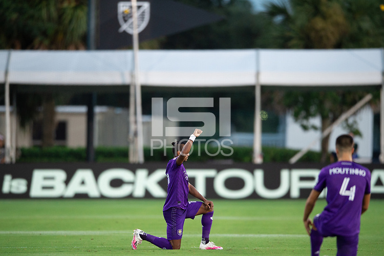 LAKE BUENA VISTA, FL - JULY 25: Nani #17 of Orlando City SC before the game during a game between Montreal Impact and Orlando City SC at ESPN Wide World of Sports on July 25, 2020 in Lake Buena Vista, Florida.