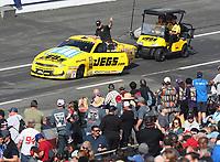 Feb 8, 2020; Pomona, CA, USA; NHRA pro stock driver Jeg Coughlin Jr during qualifying for the Winternationals at Auto Club Raceway at Pomona. Mandatory Credit: Mark J. Rebilas-USA TODAY Sports