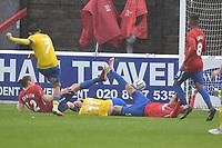 Dan Mooney of Altrincham FC scores the winning goal  during Dagenham & Redbridge vs Altrincham, Vanarama National League Football at the Chigwell Construction Stadium on 2nd October 2021
