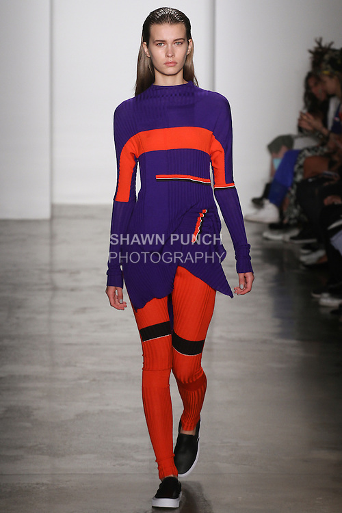 Model walks runway in an outfit by Varpu Rapeli for the Parsons MFA fashion show, during New York Fashion Week Spring 2016.
