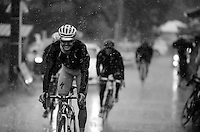 Jakob Fuglsang (DEN/Astana) enjoying the shower straight after finishing the stage while arriving at the team bus (below in the valley)<br /> <br /> stage 17: Digne-les-Bains - Pra Loup (161km)<br /> 2015 Tour de France