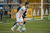 SAN JOSE, CA - SEPTEMBER 19: Tomas Conechny #19 of the Portland Timbers keeps the ball away from Tanner Beason #15 of the San Jose Earthquakes during a game between Portland Timbers and San Jose Earthquakes at Earthquakes Stadium on September 19, 2020 in San Jose, California.