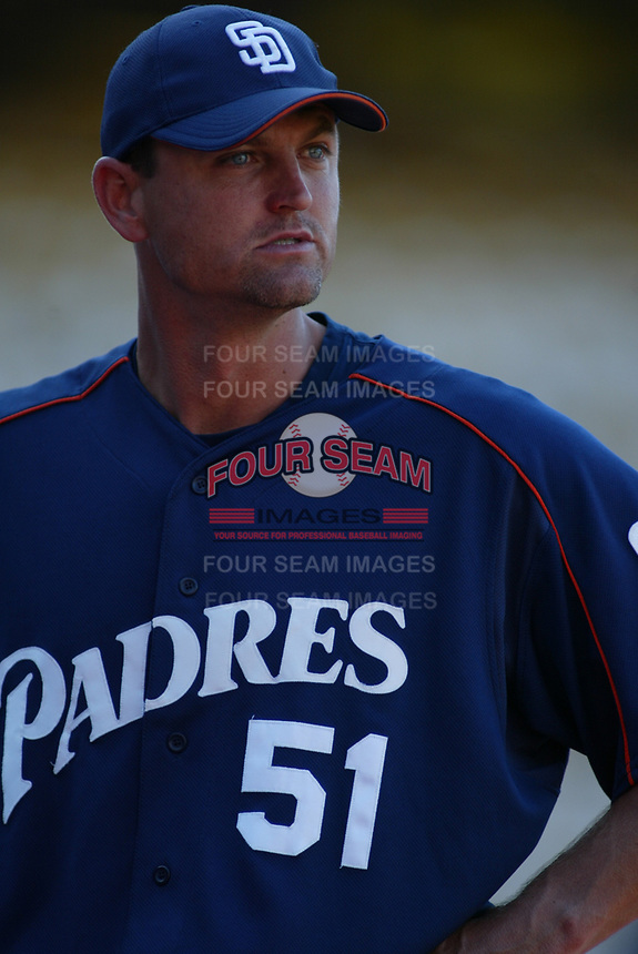 Trevor Hoffman of the San Diego Padres during a 2003 season MLB game at Dodger Stadium in Los Angeles, California. (Larry Goren/Four Seam Images)