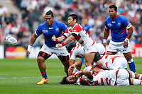 Japan Scrum-Half Fumiaki Tanaka in action - Mandatory byline: Rogan Thomson - 03/10/2015 - RUGBY UNION - Stadium:mk - Milton Keynes, England - Samoa v Japan - Rugby World Cup 2015 Pool B.