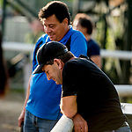 June 7, 2019 : Assistant Trainers Leandro Goncalves and Jimmy Barnes chat about missing home on the West Coast as horses prepare for the Belmont Stakes on Belmont Stakes Festival Weekend at Belmont Park in Elmont, New York. Scott Serio/Eclipse Sportswire/CSM