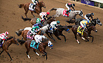 DEL MAR, CA - NOVEMBER 03: The pack of the Breeders' Cup Las Vegas Dirt Mile make their way out of the gates on Day 1 of the 2017 Breeders' Cup World Championships at Del Mar Thoroughbred Club on November 3, 2017 in Del Mar, California. (Photo by Ting Shen/Eclipse Sportswire/Breeders Cup)