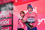 Race leader Joao Almeida (POR) Deceuninck-Quick Step retains the Maglia Rosa at the end of Stage 5 of the 103rd edition of the Giro d'Italia 2020 running 225km from Mileto to Camigliatello Silano, Sicily, Italy. 7th October 2020.  <br /> Picture: LaPresse/Massimo Paolone | Cyclefile<br /> <br /> All photos usage must carry mandatory copyright credit (© Cyclefile | LaPresse/Massimo Paolone)