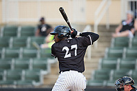 Micker Adolfo (27) of the Kannapolis Intimidators at bat against the Hickory Crawdads in game one of a double-header at Kannapolis Intimidators Stadium on May 19, 2017 in Kannapolis, North Carolina.  The Crawdads defeated the Intimidators 5-4.  (Brian Westerholt/Four Seam Images)