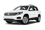 Stock pictures of low aggressive front three quarter view of 2017 Volkswagen Tiguan S-4Motion 5 Door SUV Low Aggressive
