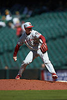 Oklahoma Sooners relief pitcher Zack Matthews (32) in action against the Missouri Tigers in game four of the 2020 Shriners Hospitals for Children College Classic at Minute Maid Park on February 29, 2020 in Houston, Texas. The Tigers defeated the Sooners 8-7. (Brian Westerholt/Four Seam Images)