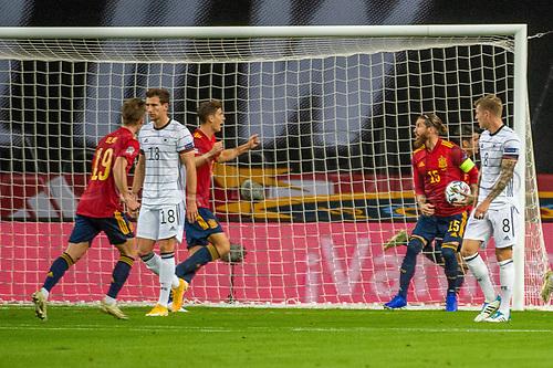 17th November 2020;  Estadio La Cartuja de Sevilla, Seville, Spain; UEFA Nations League Football, Spain versus Germany; Goal celebrations for 1:0 from Alvaro Morata (esp)
