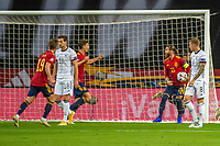 17th November 2020;  Estadio La Cartuja de Sevilla, Seville, Spain; UEFA Nations League Football, Spain versus Germany; Goal celebrations for 1:0 from Alvaro Morata (esp)
