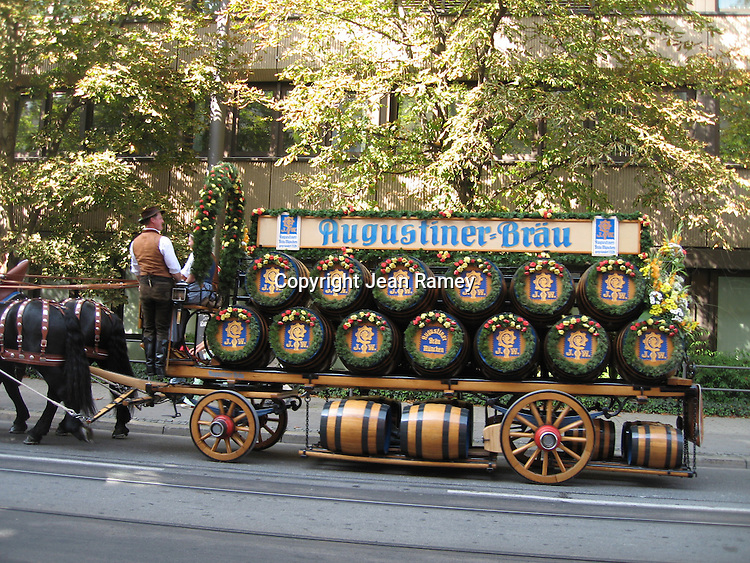 Beer barrels are transported to Oktoberfest - Munich, Germany