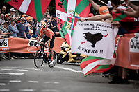 Joey Rosskopf (USA/CCC) leading the race during the 2nd passage of the infamous Mur de Huy. <br /> <br /> 83th Flèche Wallonne 2019 (1.UWT)<br /> 1 Day Race: Ans – Huy 195km<br /> <br /> ©kramon