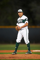 Chicago State Cougars relief pitcher Robert Gutierrez (19) gets ready to deliver a pitch during a game against the Georgetown Hoyas on March 3, 2017 at North Charlotte Regional Park in Port Charlotte, Florida.  Georgetown defeated Chicago State 11-0.  (Mike Janes/Four Seam Images)