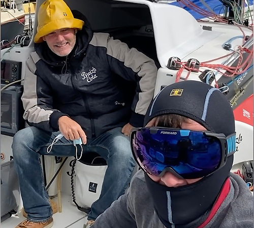 Irish Sailor of the Year Tom Dolan (right) with French Ace Gildas Mahé in joking form before the Transat en double was postponed due to severe weather