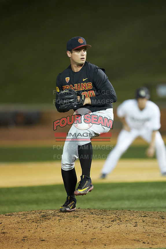 USC Trojans relief pitcher Brock Larson (30) in action against the Wake Forest Demon Deacons at David F. Couch Ballpark on February 24, 2017 in  Winston-Salem, North Carolina.  The Demon Deacons defeated the Trojans 15-5.  (Brian Westerholt/Four Seam Images)