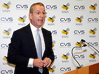 Photo: Richard Lane/Richard Lane Photography. London Wasps reception at the Central London offices of the Club's Official Main Sponsor, CVS, the business rates specialist. 02/09/2013. CVS Chief Executive and London Wasps Chairman, Mark Rigby addresses the audience.
