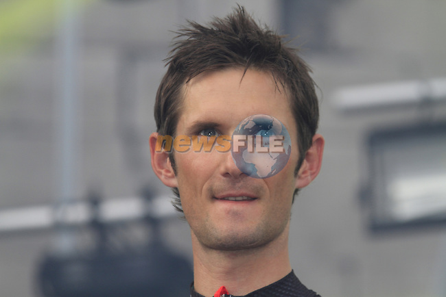 Radioshack-Nissan team rider Frank Schleck (LUX) on stage at the Team Presentation Ceremony before the 2012 Tour de France in front of The Palais Provincial, Place Saint-Lambert, Liege, Belgium. 28th June 2012.<br /> (Photo by Eoin Clarke/NEWSFILE)