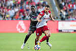 West Bromwich Albion midfielder Jake Livermore (R) competes for the ball with Crystal Palace midfielder Jeffrey Schlupp during the Premier League Asia Trophy match between West Bromwich Albion and Crystal Palace at Hong Kong Stadium on 22 July 2017, in Hong Kong, China. Photo by Weixiang Lim / Power Sport Images