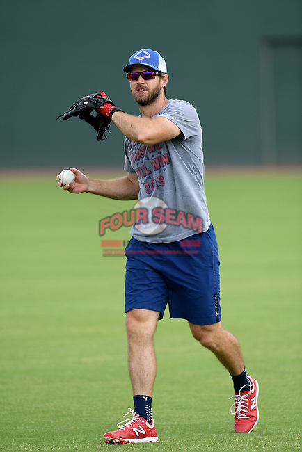 Cleveland Indians infielder Mike Freeman works an infield drill with other Major League and Minor League players from around the region on Friday, June 5, 2020, at Fluor Field at the West End in Greenville, South Carolina. Team workouts have been shut down during the coronavirus pandemic, so this group began working out in what they call game situation simulations a couple of days a week. Freeman was drafted out of Clemson. (Tom Priddy/Four Seam Images)