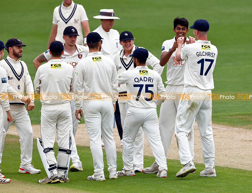 Jas Singh (2nd R) of Kent is congratulated after taking the wicket of Travis Head during Kent CCC vs Sussex CCC, LV Insurance County Championship Group 3 Cricket at The Spitfire Ground on 11th July 2021