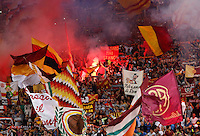 Calcio, Champions League, Gruppo E: Roma vs CSKA Mosca. Roma, stadio Olimpico, 17 settembre 2014.<br /> Roma fans wave flags prior to the start of the Group E Champions League football match between AS Roma and CSKA Moskva at Rome's Olympic stadium, 17 September 2014.<br /> UPDATE IMAGES PRESS/Riccardo De Luca