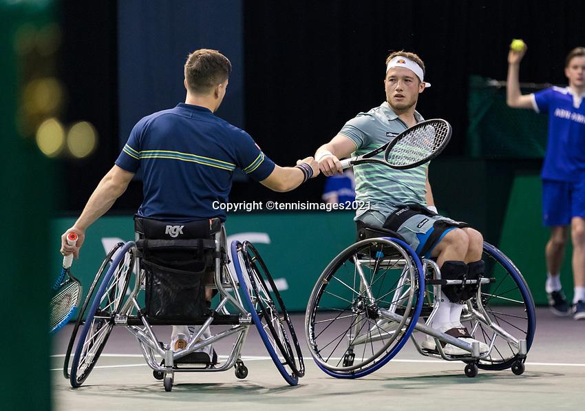 Rotterdam, The Netherlands, 6 march  2021, ABNAMRO World Tennis Tournament, Ahoy,  <br /> Semi final wheelchair: Alfie Hewett (GBR) / Gordon Reid (GBR). Photo: www.tennisimages.com/