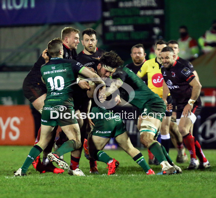 27th December 2020   Connacht  vs Ulster <br /> <br /> Tom O'Toole is tackled by Jack Carty, Caolin Blade and Quinn Roux during the Guinness PRO14 match between Connacht and Ulster at The Sportsground in Galway.  Photo by John Dickson/Dicksondigital