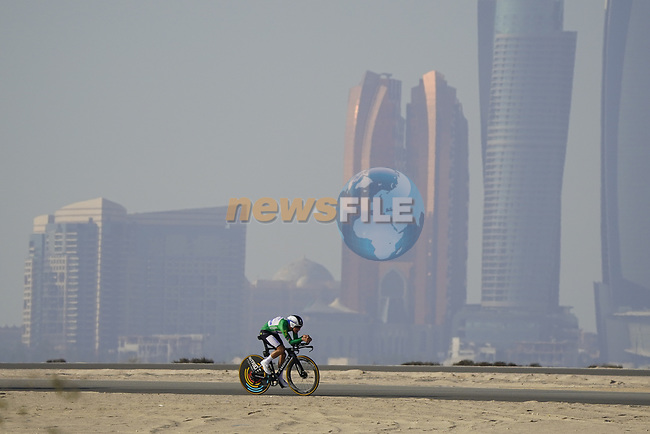 Joao Almeida (POR) Deceuninck-Quick Step wearing the Green Jersey during Stage 2 of the 2021 UAE Tour an individual time trial running 13km around Al Hudayriyat Island, Abu Dhabi, UAE. 22nd February 2021.  <br /> Picture: Eoin Clarke | Cyclefile<br /> <br /> All photos usage must carry mandatory copyright credit (© Cyclefile | Eoin Clarke)
