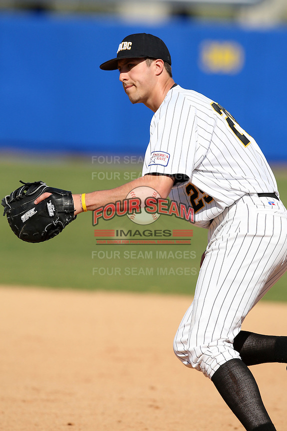 March 14, 2010:  First Baseman Tyler Drinkard of UMBC in a game vs. Bucknell at Chain of Lakes Stadium in Winter Haven, FL.  Photo By Mike Janes/Four Seam Images