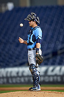 Charlotte Stone Crabs catcher Nick Ciuffo (14) waits for a new pitcher during a game against the Clearwater Threshers on April 12, 2016 at Bright House Field in Clearwater, Florida.  Charlotte defeated Clearwater 2-1.  (Mike Janes/Four Seam Images)