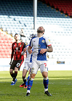 5th April 2021; Ewood Park, Blackburn, Lancashire, England; English Football League Championship Football, Blackburn Rovers versus Bournemouth;  Misery for Adam Armstrong of Blackburn Rovers as he misses a penalty in added time that would have made the score 1-2 to Bournemouth