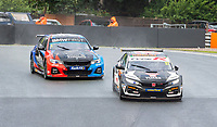 23rd August 2020; Oulton Park Circuit, Little Budworth, Cheshire, England; Kwik Fit British Touring Car Championship, Oulton Park, Race Day;  Dan Cammish Halfords Yuasa Racing driving a Honda Civic Type R  trys to keep  Colin Turkington Team BMW driving a BMW 330i at bay in race 2