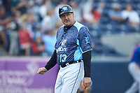 West Michigan Whitecaps manager Lance Parrish (13) of the West Michigan Whitecaps walks back to the dugout after making a pitching change during the game against the South Bend Cubs at Fifth Third Ballpark on June 10, 2018 in Comstock Park, Michigan. The Cubs defeated the Whitecaps 5-4.  (Brian Westerholt/Four Seam Images)
