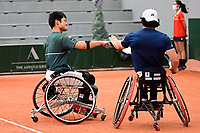 9th October 2020, Roland Garros, Paris, France; French Open tennis, Roland Garr2020; Mens doubles final,  Gustavo Fernandez Esp / Shingo Kunieda jpn EL