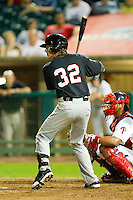 Kyle Robinson (32) of the Kannapolis Intimidators at bat against the Lakewood BlueClaws at FirstEnergy Park on August 8, 2012 in Lakewood, New Jersey.  The BlueClaws defeated the Intimidators 5-0.  (Brian Westerholt/Four Seam Images)