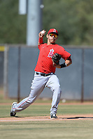 Los Angeles Angels second baseman Angel Rosa (8) throws to first during an Instructional League game against the Milwaukee Brewers on October 11, 2013 at Tempe Diablo Stadium Complex in Tempe, Arizona.  (Mike Janes/Four Seam Images)
